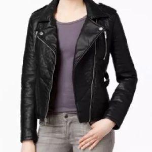 Rachel Roy Faux Leather Moto Style Zip Jacket